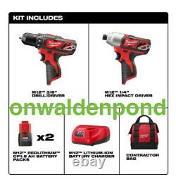 Milwaukee M12 2-outil Combo Kit 3/8 Drill Driver 1/4 Hex Impact W Batteries