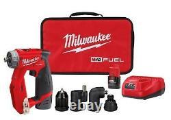 Milwaukee M12 4-en-1 3/8 Pilote De Forage Avec 4 Têtes D'outils +2 Piles + Chargeur 2505-22