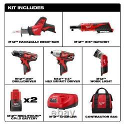 Milwaukee M12 Cordless Mechanics Combo Kit 5 Outils Avec Sac À Outils Lithium 12v