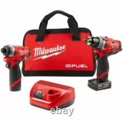 Milwaukee M12 Fuel 2-tool Cordless Hammer Drill/impact Driver Comb0 Kit 2598-22