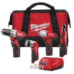Milwaukee M12 Sans Fil Lithiumion 4 Outil Combo Kit Forage Driver Cliquet 2493-24