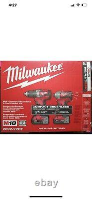 Milwaukee M18 2892-22ct 2-outil Sans Brosse Combo Kit Perceuse Conducteur/hex Impact