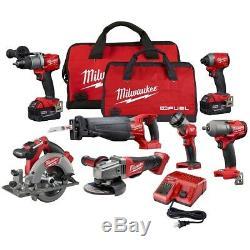 Milwaukee M18 7 Pièces Combo Tool Kit Avec 2 Piles Et Chargeur Nouveau Bateau Libre