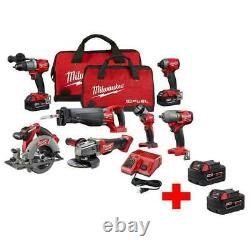Milwaukee M18 Cordless Combo Tool Kit 7 Outils Drill Impact Grinder (4) Batteries