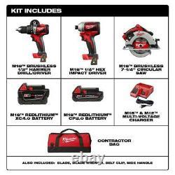 Milwaukee M18 Kit D'outils Combo Sans Fil 3 Outils 2 Batteries Forez Impact Circ Saw