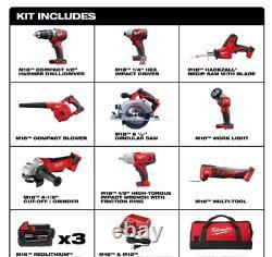 Milwaukee M18 Kit D'outils Combo Sans Fil 9 Outils Forez Impact Circ Saw Multitool