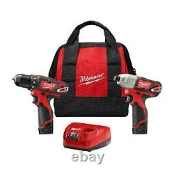 Milwaukee Perceuse Sans Fil / Impact Pilote Combo Kit 2 Outil 2 Batteries Chargeur