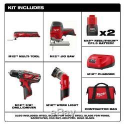 Milwaukee Sans Fil Combo Power Tool Kit 4 Outils 2 Piles Chargeur Sac À Outils Nouveau