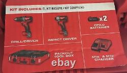 Milwaukee Tool Kit-drill & Imlact Drivers, 2 Batteries, Chargeur Et Boîte À Outils