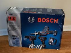 Nouveau Bosch Clpk496a-181 Cordless 4-tool Combo Kit 18v Drill, Driver, Saw, Light