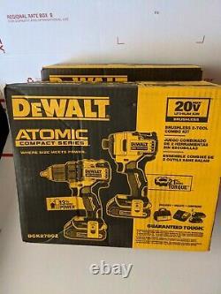 Nouveau Dewalt Dck278c2 Atomique 20v Max 2 Outils Sans Brosse Combo Kit