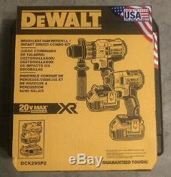 Nouveau Dewalt Dck299p2 20 Volt Hammerdrill / Impact Combo Kit (2-tool) Avec Piles