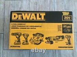 Nouveau Kit D'outils Compact 5 Sans Fil De Dewalt 20v Max Avec Case Dck521d2 Nouveau