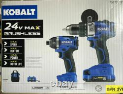 Nouveau Kobalt 2-outil Combo Impact & Drill 43308-8247 24v Max Brushless Qik Sh