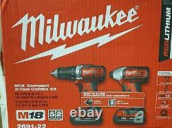 Nouveau Milwaukee M18 2691-22 Compact 2-tool Combo Kit