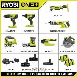 One+ 18v Cordless 8-tool Combo Kit Avec 3 Batteries Et Chargeur