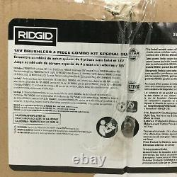Ridgid 4 Outils Combo Kit 18v Sans Fil Brushless, Batteries, Chargeur Et Sac