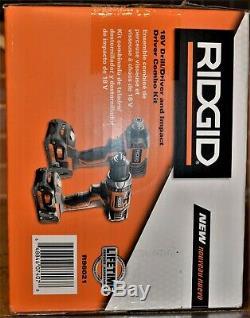 Ridgid R96021 2-tool Combo Kit 18v Li-ion Perceuse / Tournevis Et Impact Nouveau