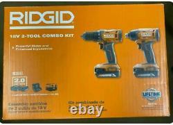 Ridgid (r9272) 2-outils Sans Fil 18v Kit De Pilote De Forage Et D'impact New Sealed