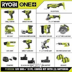Ryobi 12-tool Combo Kit Batterie Sans Fil Chargeur 300-piece Drill Drive Kit