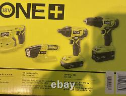 Ryobi 18-volt One+ Lithium-ion Combo 4 Tool Kit P1818 New With Batteries