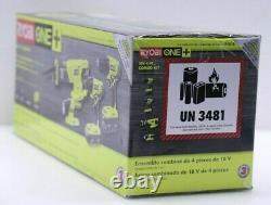 Ryobi 18-volt One+ Lithium-ion Cordless 4-tool Combo Kit P1818 -flambant Neuf Scellé