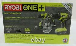 Ryobi P1816 Cordless 2-tool Starter Combo Kit 2 Speed Drill/driver, Scie Circulaire