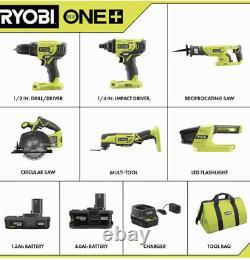 Ryobi P1819 18v Cordless 5 Tool Combo Kit Set Impact Drill Driver. Utilisé! Testé