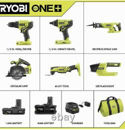 Ryobi P1819 18v Cordless 6 Tool Combo Kit Set Impact Drill Driver Saw. Boîte Ouverte