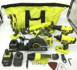 Ryobi P1819 18v One+ Cordless 6 Tool Combo Kit Set Impact Drill Driver Saw, N M