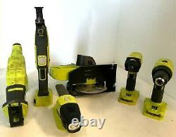 Ryobi P1819 18v One+ Cordless 6 Tool Combo Kit Set, Vg