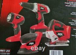 Skil Nicad 18v Perceuse Sans Fil, Ponceuse, Light & Jigsaw 4-tool Combo Kit 2887-23