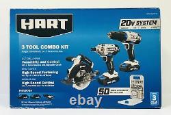 Système Hart 20v 1/2 Perceuse/conducteur Scie Circulaire Et Pilote D'impact 3 Outil Combo Kit